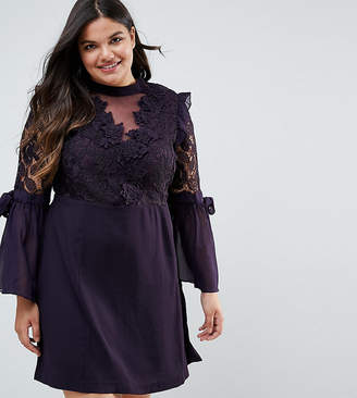 Truly You Premium Lace Mini Dress With Bow Sleeve Detail