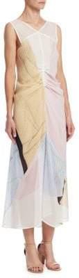 Victoria Beckham Women's Silk Print Gathered Midi Dress - Mint Butter Scotch - Size UK 12 (8)