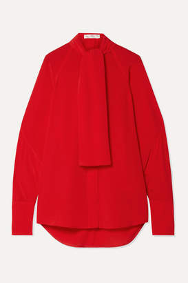 Victoria Beckham Pussy-bow Silk Crepe De Chine Blouse - Tomato red