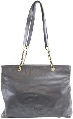 Chanel Tote Xxl Cc Logo Chain Strap Black Caviar Leather Shoulder Bag