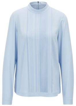 BOSS Hugo Lightweight top in stretch crepe pleated front panel 4 Light Blue