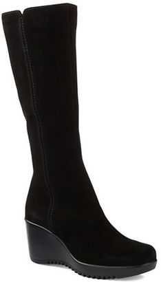 La Canadienne Gaby Waterproof Tall Suede Wedge Boots $285 thestylecure.com