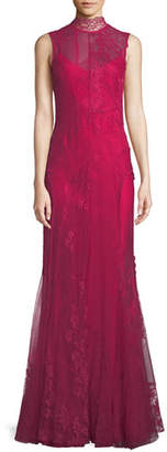 Givenchy Sleeveless Mock-Neck Double-Layer Mixed Lace Evening Gown