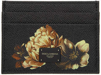 Dolce & Gabbana Black Flower Card Holder