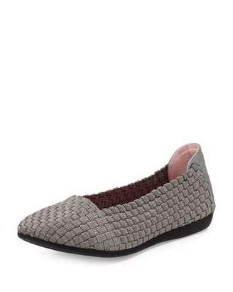 Taryn Rose Belicia Stretch-Woven Flat, Pewter $135 thestylecure.com