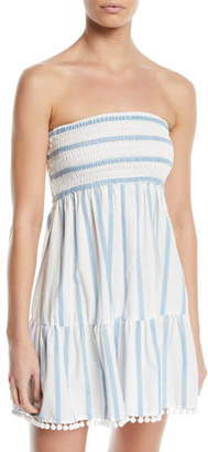 Milly Striped Embroidered Strapless Coverup Dress
