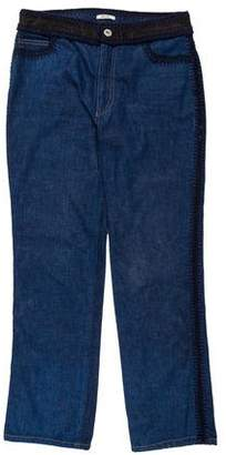 Miu Miu Mid-Rise Crochet-Trimmed Jeans