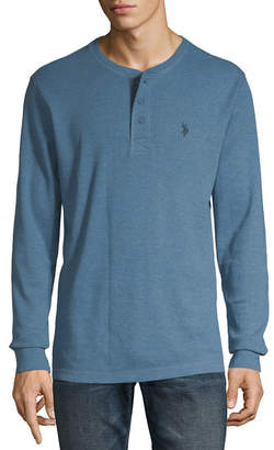 U.S. Polo Assn. USPA Mens Split Crew Neck Long Sleeve Thermal Top