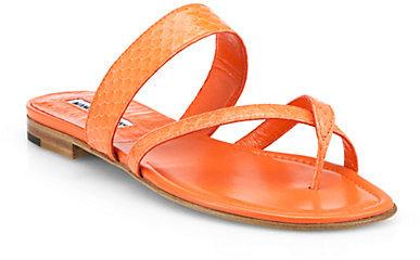 Manolo Blahnik Susa Snakeskin Sandals