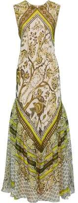 Alberta Ferretti Lace-trimmed Printed Silk-chiffon Maxi Dress