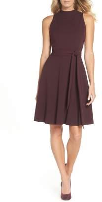Tahari High Neck Scuba Crepe A-Line Dress