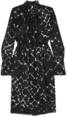 Marc Jacobs Printed Silk Turtleneck Midi Dress - Black