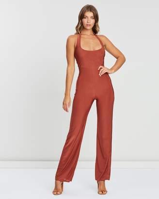Missguided Wrap Front Slinky Wide Leg Jumpsuit