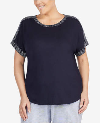 DKNY Plus Size Contrast-Trim Pajama Top