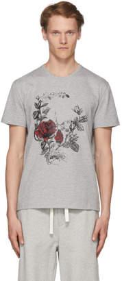 Alexander McQueen Grey Gothic Rose Skull T-Shirt