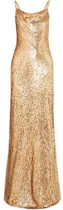 Michael Kors Draped Metallic Devoré Maxi Dress
