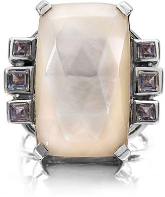 Stephen Dweck Cushion Crystal Cocktail Ring, White/Purple