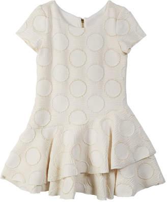 Zoe Halo Circle Metallic Knit Flounce-Hem Dress, Size 7-16