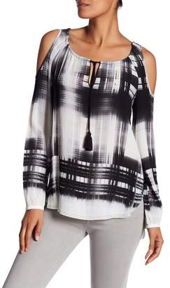Go Silk go > by GoSilk Go Baby It's Cold Outside Silk Cold-Shoulder Blouse