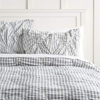 Pottery Barn Teen The Emily & Meritt Striped Comforter, Full/Queen, Chambray Blue