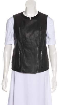 J Brand Leather Asymmetrical Vest
