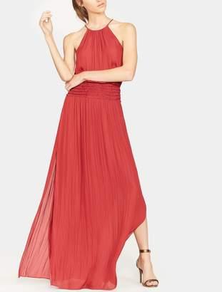 Halston Ruffle Smocked Waist Gown