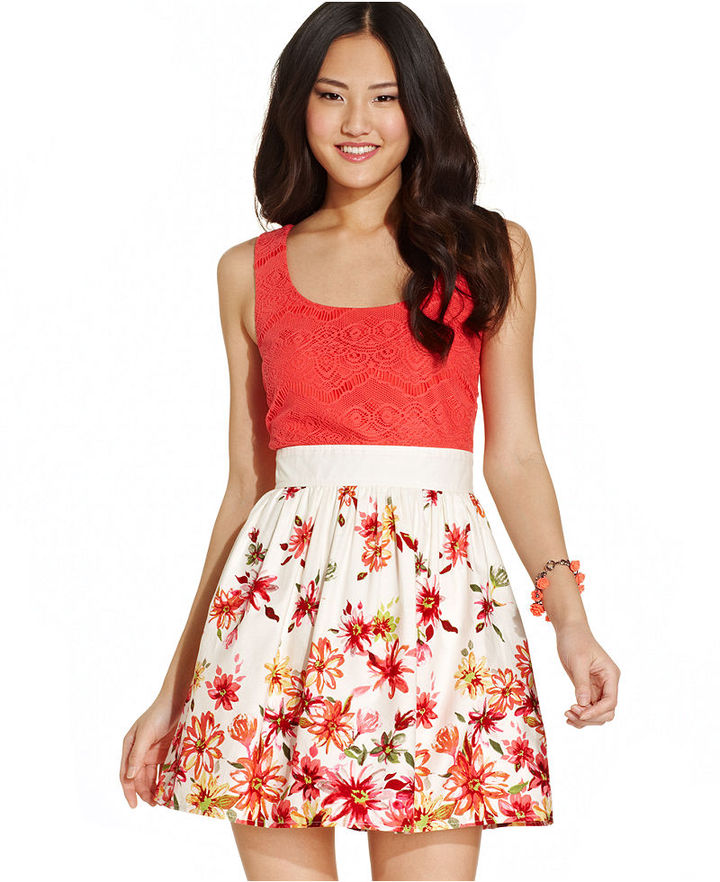 Trixxi Juniors' Lace Floral-Print Dress