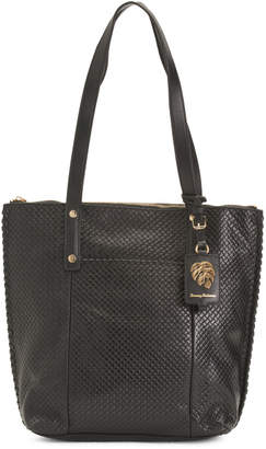 Exumas Top Zip Leather Tote