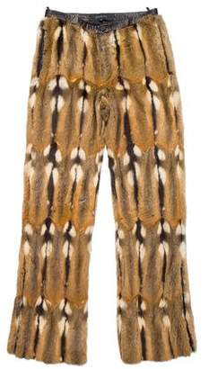 Gucci 2000 Leather-Trimmed Fur Pants