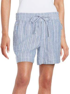 Lord & Taylor Chambray Striped Linen Shorts $68 thestylecure.com