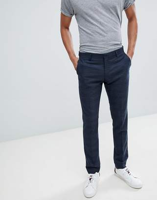 Selected Skinny Suit PANTS In Navy Check With Stretch