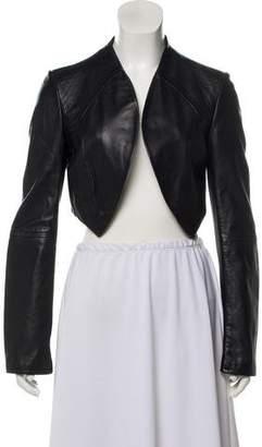Emporio Armani Cropped Lamb Leather Jacket
