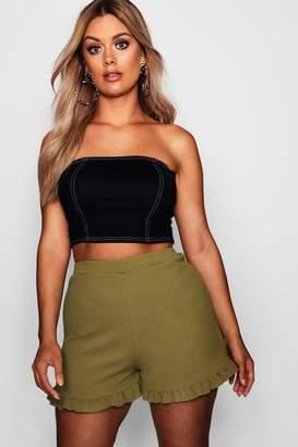 boohoo Plus Frill Hem Shorts