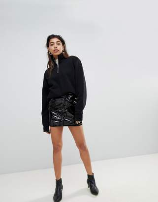 MANGO Vinyl Ruffle Front Mini Skirt