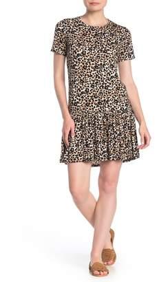 Cotton Emporium Short Sleeve Leopard Print Ruffle Hem Dress