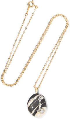 Cvc Stones Bold 18-karat Gold, Stone And Diamond Necklace