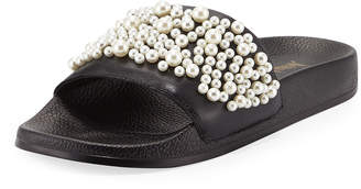 Neiman Marcus Embellished Leather Slide Flat Sandals, Black