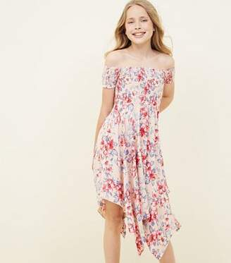 New Look Teens Pink Tropical Print Hanky Hem Bardot Dress