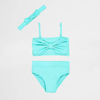 River Island Mini girls aqua bow front tankini set