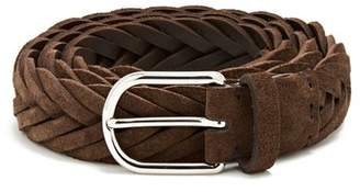 Brunello Cucinelli Woven Suede Belt - Mens - Brown