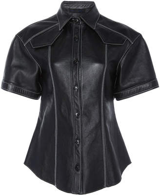 Proenza Schouler Short-Sleeve Plonge Leather Shirt