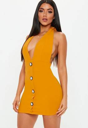 Missguided Mustard Halterneck Mini Dress