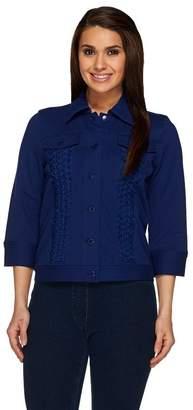 Isaac Mizrahi Live! Knit Denim Jacket with Applique Detail