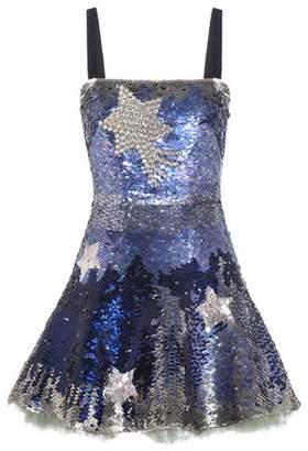 Valentino Crystal-embellished sequinned silk minidress