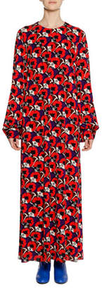 Marni Long-Sleeve Floral-Deco Print Ankle-Length Dress