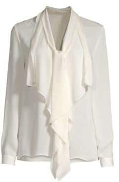 Elie Tahari Jurnee Ruffle Front Silk Blouse