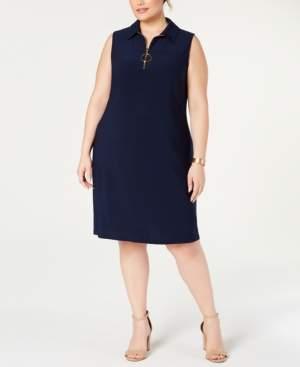 MSK Plus Size Sleeveless Front-Zip A-Line Dress