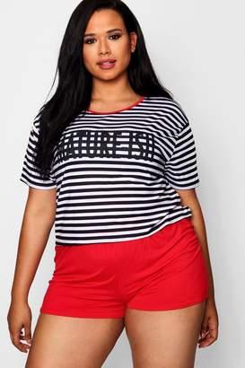 boohoo Plus Slogan Stripe PJ Set