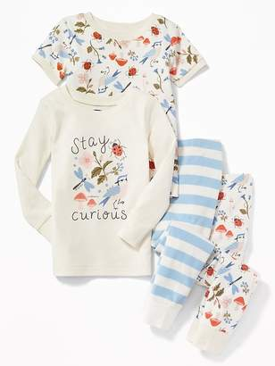 """Old Navy """"Stay Curious"""" Nature-Graphic 4-Piece Sleep Set for Toddler Girls & Baby"""