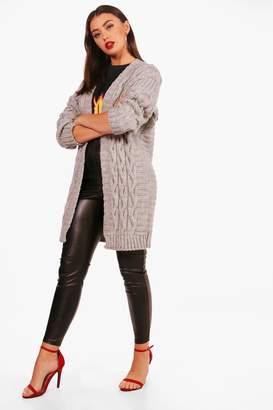 boohoo Olivia Chunky Cable Knit Cardigan